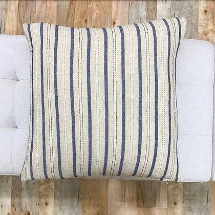 Vintage Hmong Blue and Tan Striped Pillow - Stewart