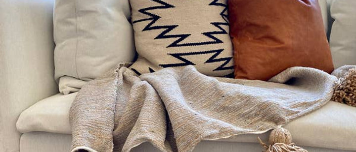 Tan/Grey Pom-Pom Blanket