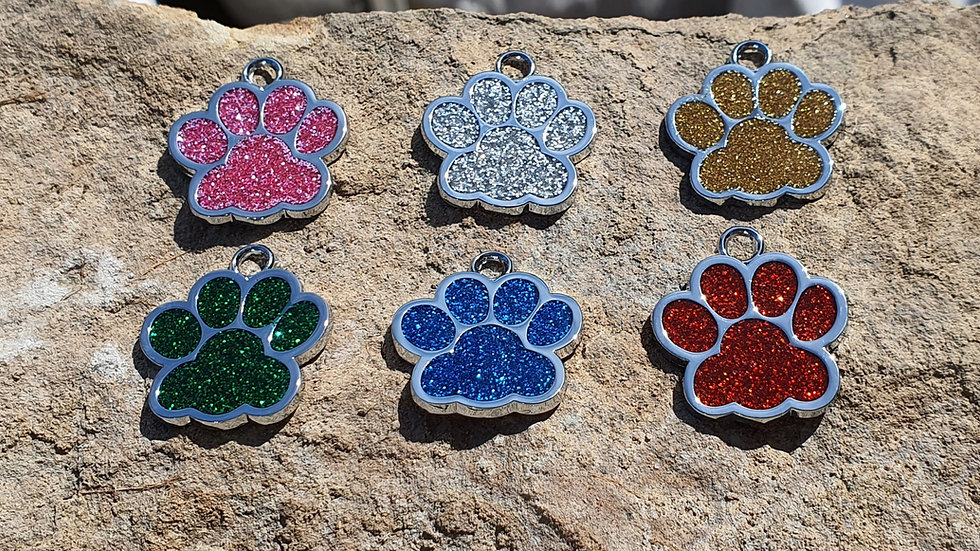Sparkly Paw Print Dog ID Tags (Engraved)