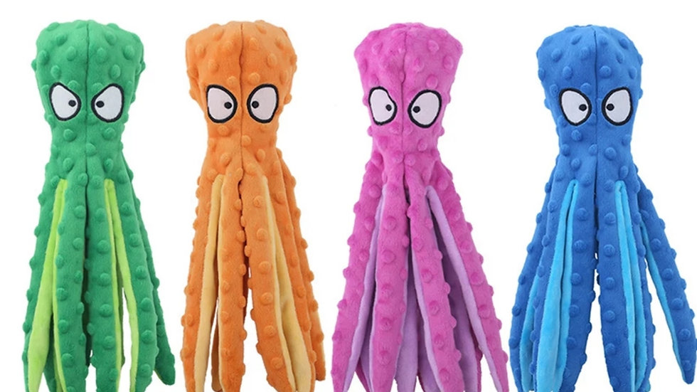 Octopus Dog Plush Squeaky Toy