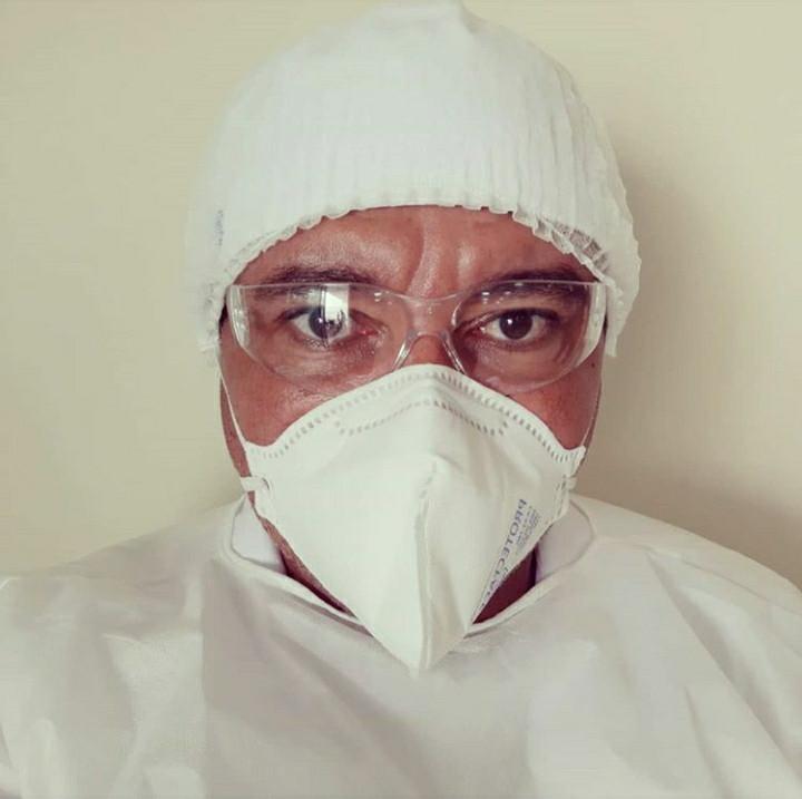 Foto Enfermeiro no combate ao COVID-19. Arquivo Pessoal de Marcelo Duarte.