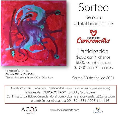 Sorteo de obra de Fernando Soro en apoyo a Fundacion Corazoncitos