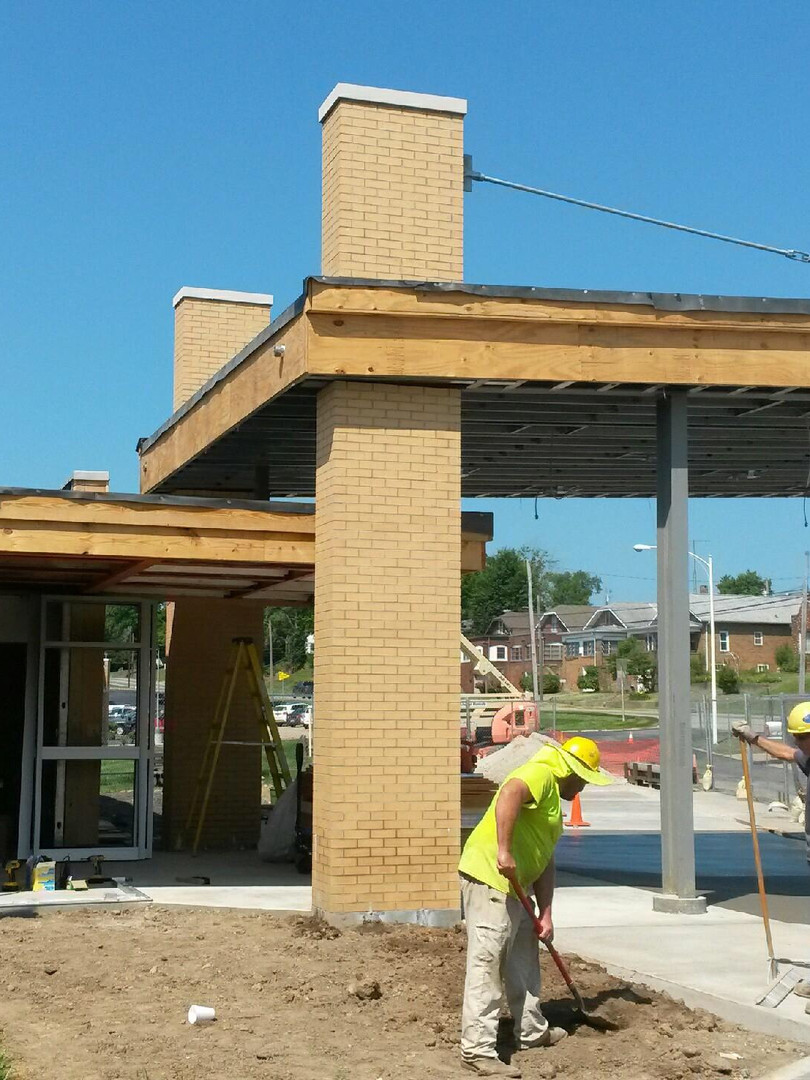 Installation of new canopy for patient & visitor entrance.