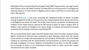 Nadia Murad, Yazda and Amal Clooney call on the Global Coalition to investigate ISIS Crimes in Syria