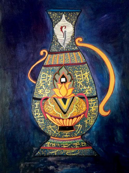 All Encompassing Vase! Tibetan Bhumpa big size  Painting