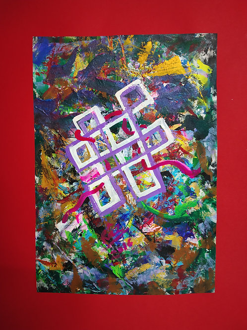 Continual Bliss!The Mystic Knot! Tibetan Symbol Unending knot abstract painting