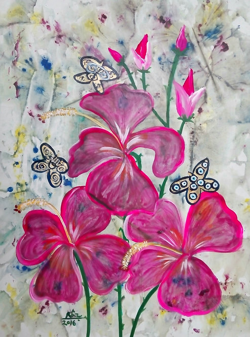 Pink Hibiscuses and Reiki Butterflies