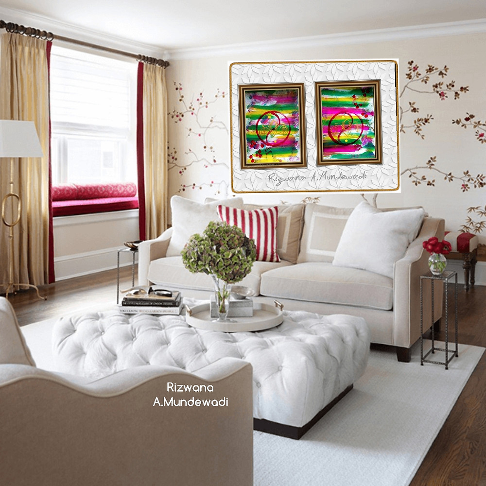 bright love symbol bedroom paintings in pair