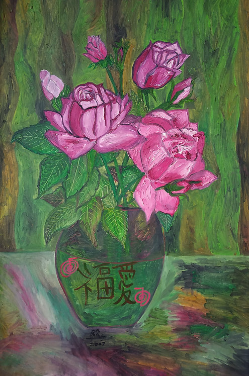 Pink Roses of Love in Green Vase