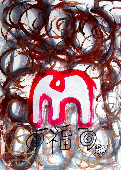 Grandeur The Modern Airavaat! Red Reiki Elephant!