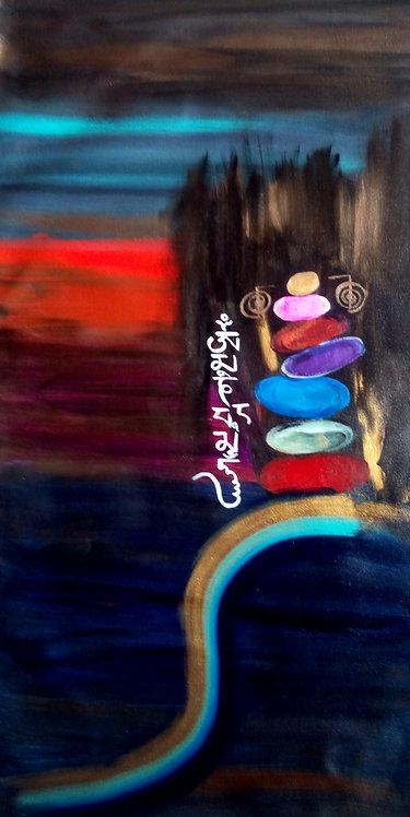 Zen Stones! Modern Zen Om mani Padme hum painting