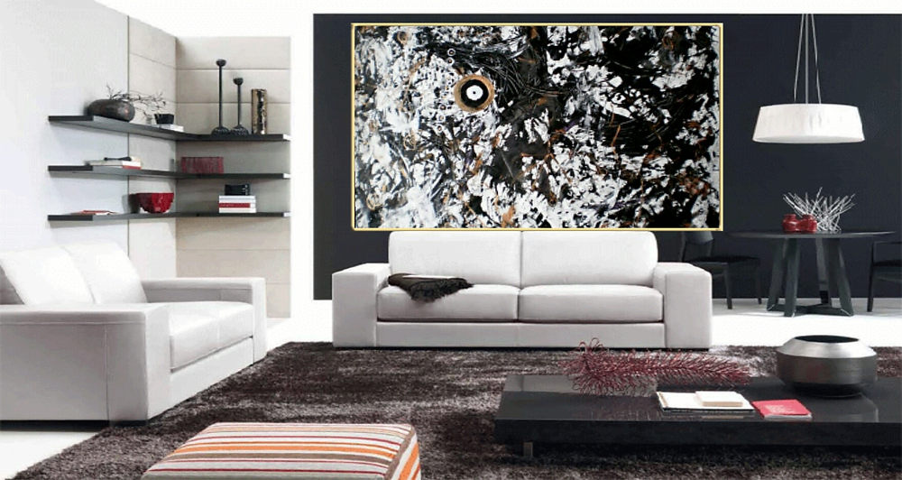 Large Monochrome canvas painting Sold to Singapore art lover