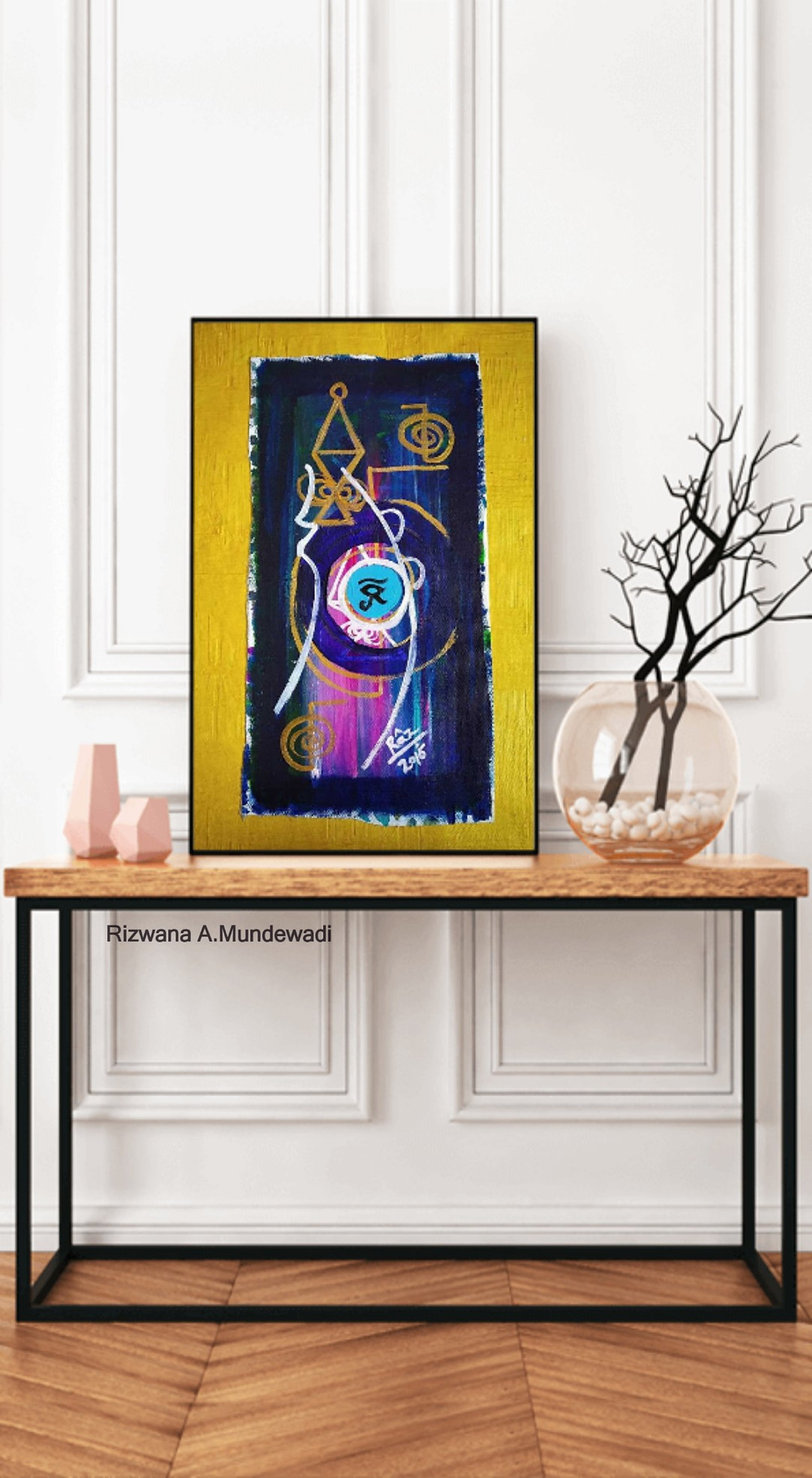 Ra!Reiki protection Eye symbol painting displayed as console Table art