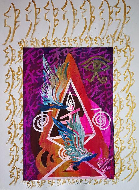 Sparks of Joy! Soar with Me! Feng Shuii Reiki Birds Painting
