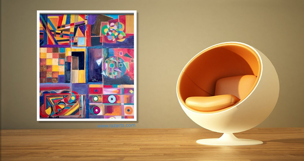 Untitled! Cubism Collage displayed with yellow chair urban decor