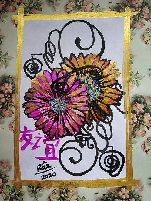 Beginning of New Friendship! Reiki Chinese symbol flourishing strokes small art