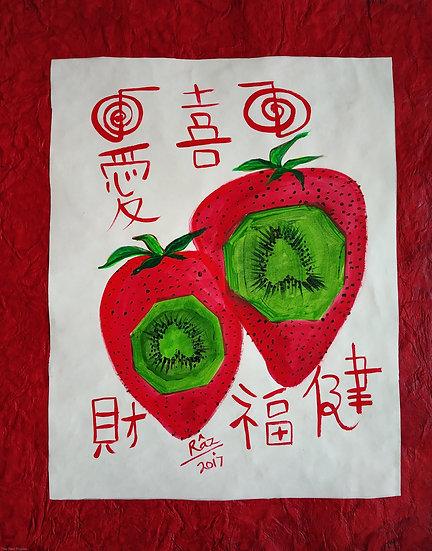 Kiwilicious 1!  Strawberry Kiwi Combo! Best Fruits feng shuii painting