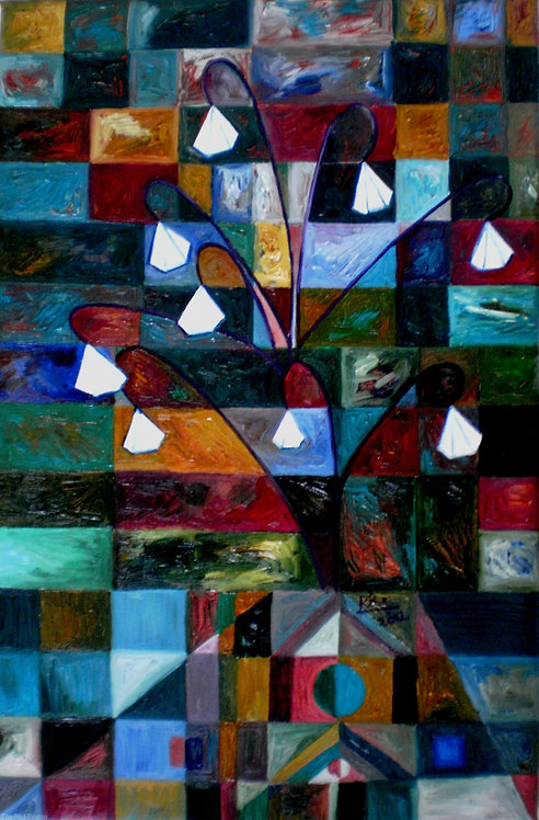 Enchanting Garden! Cubism abstract Diamond Tree painting