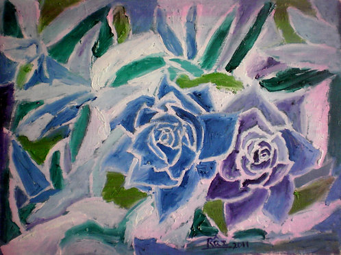 Blue Roses! Cubism floral abstract painting