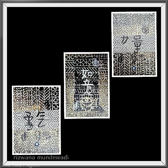 Wishes Come True! Triple Feng shuii Monochrome Artworks