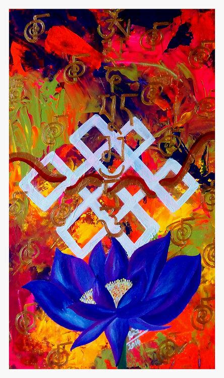 Inner Acumen ! The Unending Knot Om Mani Padme Hum Painting