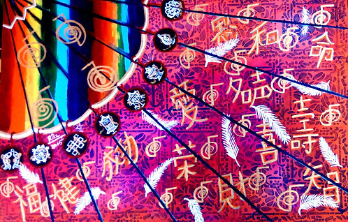 Simply Manifesting Synchronicity Reiki Feng Shuii Fan Painting