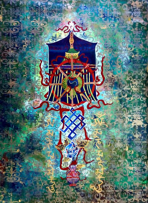 Ashtamangala! Tibetan  Eight Auspicious Symbols! Large Canvas Feng shuii Art