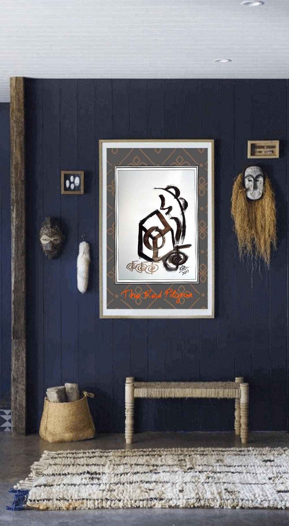 The Rejuvenating Anthakarna Reiki painting displayed in Boho decor