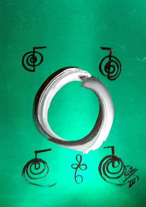 Vibrant metallic Enso Green wellspring of inner happiness