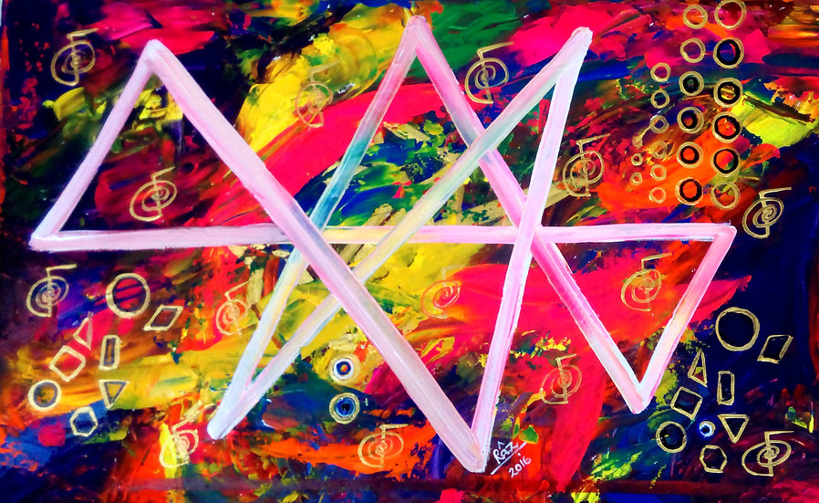 Vibrant Abundance! Reiki Magic start symbol colourful painting