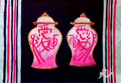 Tender Love!Pink Pots of Love! Chinese symbol Reiki healing pots painting
