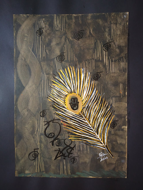 Reiki Golden Feather Luck! Family Together Our Life Overflows with Goodness!