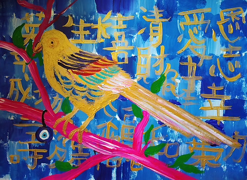 Little Golden Birdie Grace! Feng Shuii Goodluck Bird painting