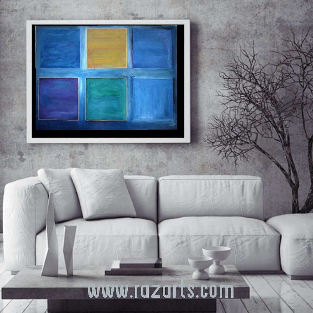 Spiritual Elegance! Cubism abstract painting displayed in urban decor living room