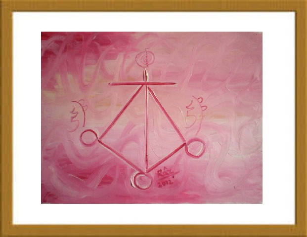 Pink Soothing Reiki Small Size Calligraphy Healing painting