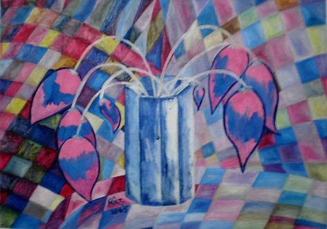 Blue Vase Pink Flowers Cubism Still life painting