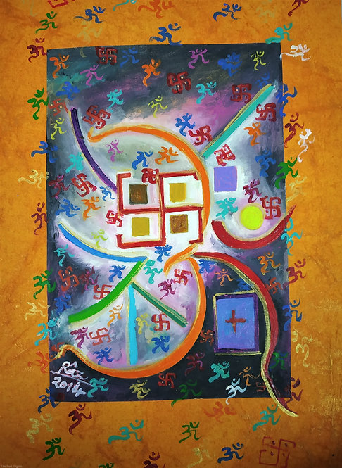 Eternal Song of the Divine/Small Contemporary Aum Swastik symbol art