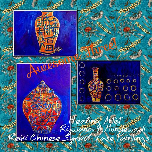 Orange Pots of Abundance! Three paintings