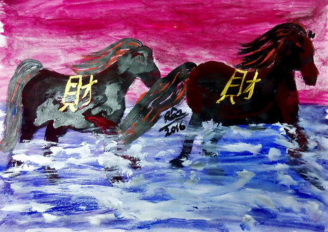 Galloping Double Wealth! Sold Black Horses Feng shuii painting