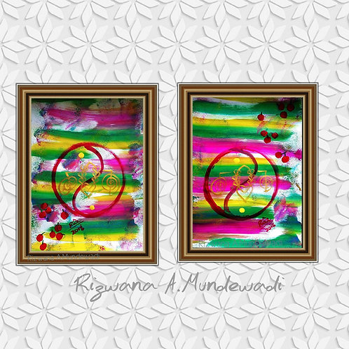 Jollity Vibes! Contemporary Yin Yang!Pair of paintings