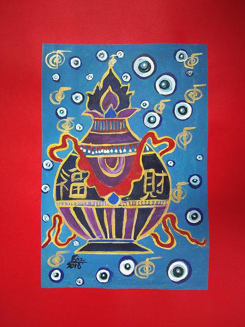 Vase of Plentitude! Tibetan Bhumpa painting