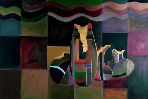 Cracked Pots Gold Within! Cubism mystical still life painting