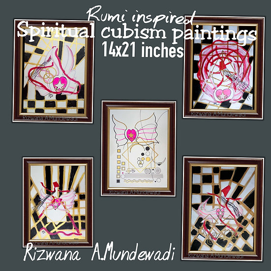 Spiritual Rumi Inspired Cubism Artworks! Limited 5!
