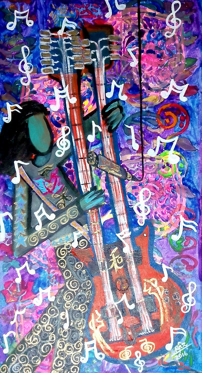 Punk Rocker! the Dual Guitarist! Reiki symbol Music Modern Pop Art