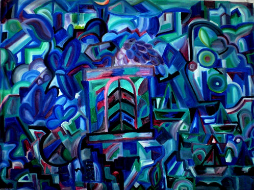 The View! Blue Cubism abstract
