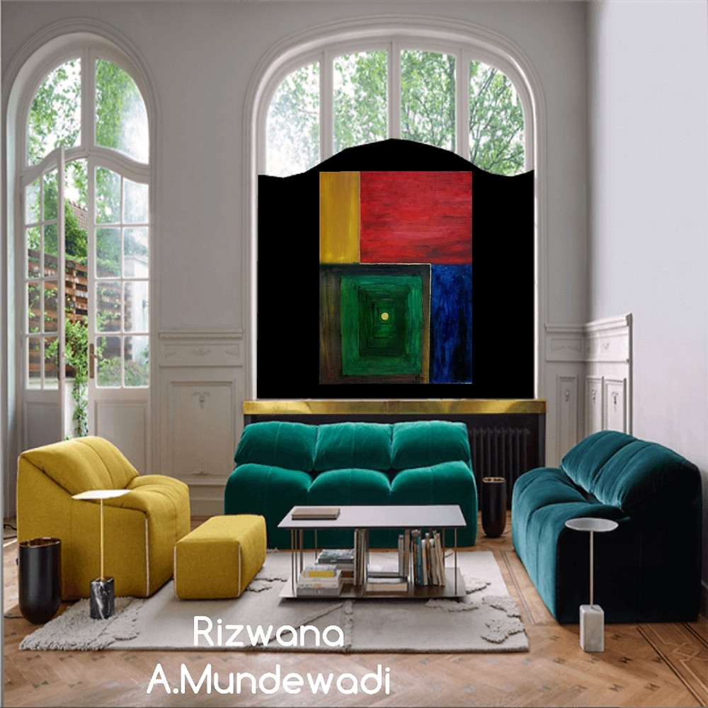 Spiritual Opulence! Large Sized Cubism abstract painting displayed in living room