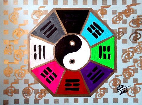 Exuberant Contentment! Feng Shui Ba Gua Reiki painting