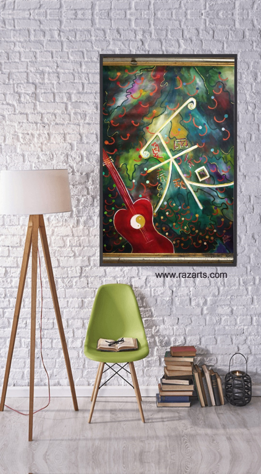 chinese symbol seasons red guitar painting for sale