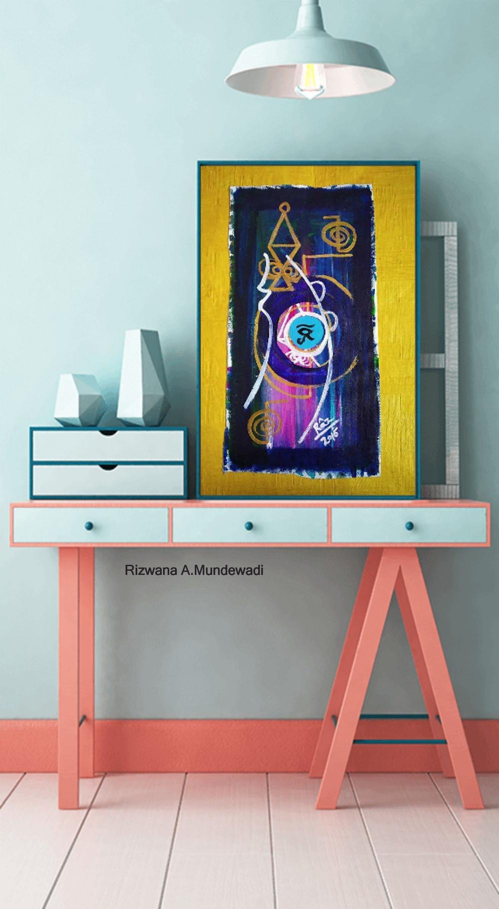 Ra!Reiki protection Eye symbol painting displayed as Table art