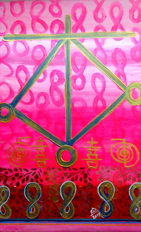Infinite Love and Happiness!Reiki Harth Symbol Abstract Pink painting